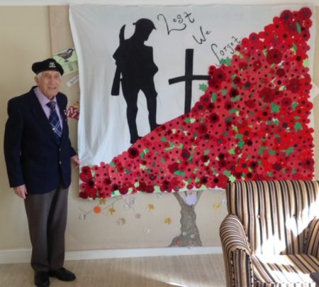 Arthur pays tribute with homemade poppy memorial