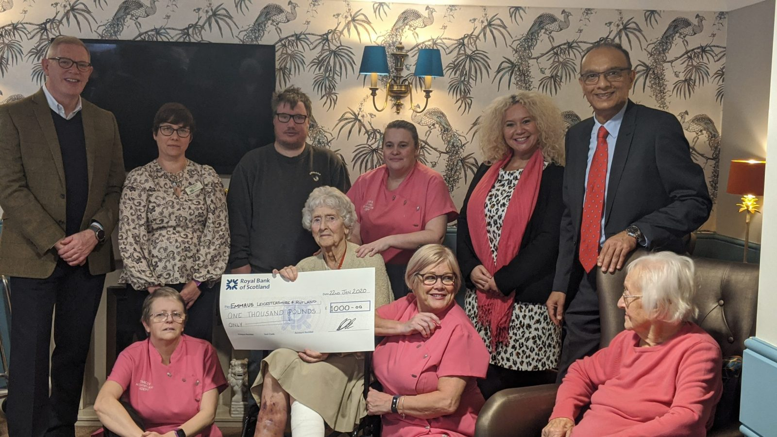 Moat House residents donate £1000 to Hinckley based homeless charity, Emmaus.