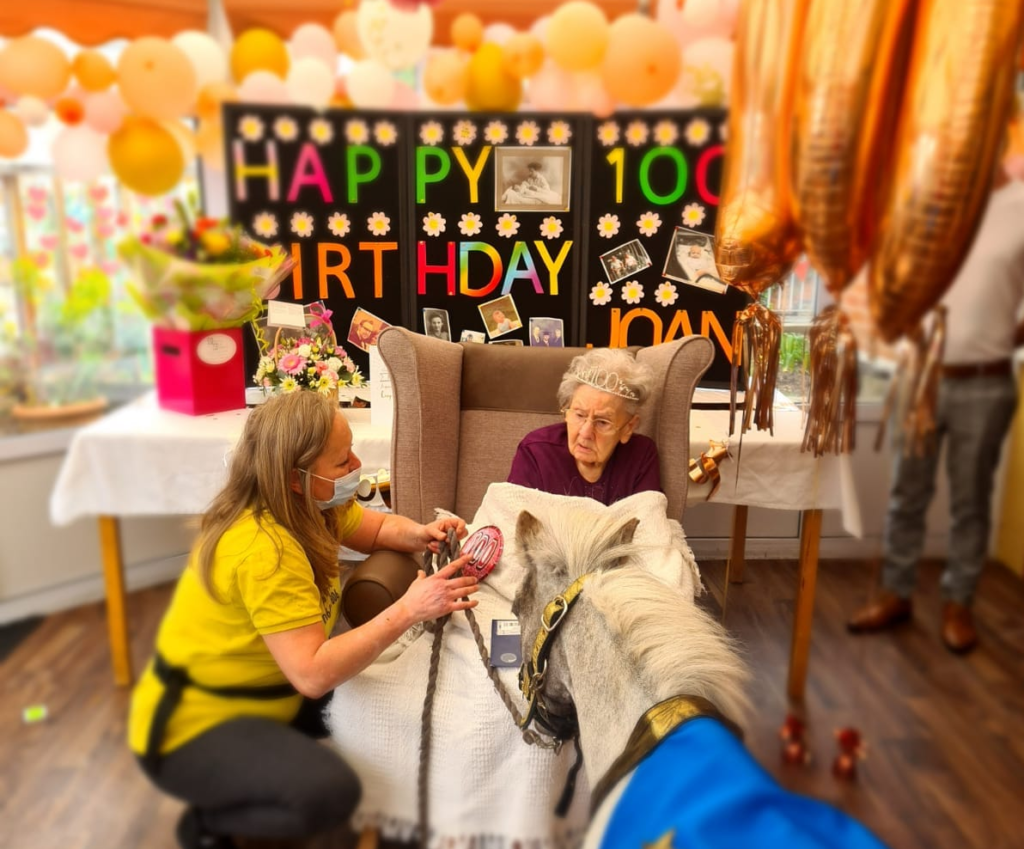 Joan Daniels (100), celebrated her 100th Birthday at her home, Douglas Court Care Home in Derby.